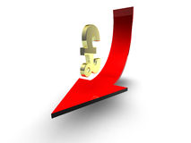 Pound sign and red arrow. Pound sign on red arrow suitable for finance concepts Royalty Free Stock Image
