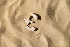 Pound Sign On the Sand stock photos