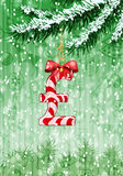 Pound sign in shape of candy on christmas tree Royalty Free Stock Photography