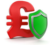 Pound Sign and Shield (clipping path included) Stock Images