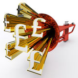 Pound Sign Shows British Wealth And Money Stock Image