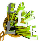 Pound Signs Means Currency Of Great Britain Stock Images