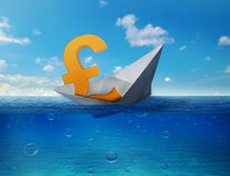 Pound sinking in sea symbol of future UK economy depression recession economic downturns. Results of brexit polls. Royalty Free Stock Photography
