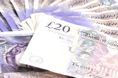 Pound sterling. Few 20 banknotes face-value Stock Images