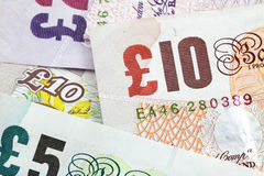 Pound sterling banknotes. Several british banknotes as a money background Stock Photography