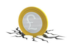 Pound Sterling Coin on Cracked Ground Royalty Free Stock Image