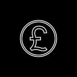 Pound sterling coin line icon, finance business. Pound sterling coin line icon, finance and business, Pound sign vector graphics, a linear pattern on a black Stock Photography