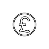 Pound sterling coin line icon, finance business. Pound sterling coin line icon, finance and business, Pound sign vector graphics, a linear pattern on a white Royalty Free Stock Images