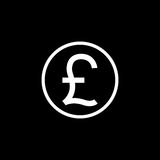 Pound sterling coin solid icon, finance business Royalty Free Stock Photo