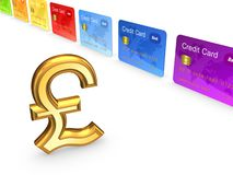Pound sterling and colorful credit cards. Stock Images