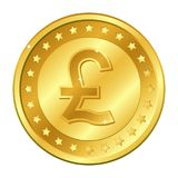 Pound sterling currency gold coin with stars. Vector illustration isolated on white background. Editable elements and glare. Pound sterling currency gold coin vector illustration