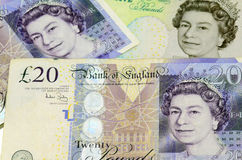 POUND sterling currency of the United Kingdom. Banknotes and coins Royalty Free Stock Image