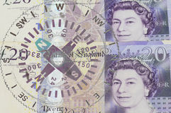 POUND sterling currency of the United Kingdom, compass Royalty Free Stock Image