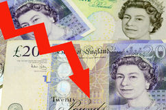 POUND sterling currency of the United Kingdom DECLINE. POUND sterling currency of the United Kingdom - banknotes and coins DECLINING royalty free stock photo