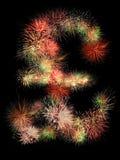 Pound sterling fireworks. Pound sterling  symbol made of fireworks on black background Stock Photo