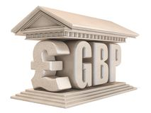 Pound sterling GBP currency sign temple 3D Royalty Free Stock Photography