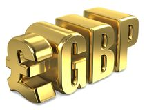 Pound sterling GBP golden currency sign 3D Royalty Free Stock Photo