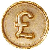 Pound sterling. Gold coin with pound sterling sign. Isolated on white background. 3d rendering Stock Photo