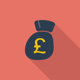 Pound sterling. Pound sterling icon. Flat vector related icon with long shadow for web and mobile applications. It can be used as - logo, pictogram, icon vector illustration