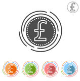 Pound sterling Insulated flat icon on a white background Stock Photography