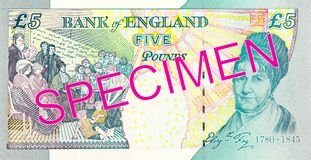 5 pound sterling note reverse. Specimen stock images