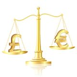 Pound sterling outweighs pound sterling on scales. Stock Photo