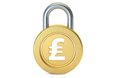 Pound sterling padlock, 3D rendering Royalty Free Stock Photography