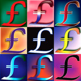 Pound Sterling Pop. Pound Sterling symbol arranged in a POP art arrangement Royalty Free Stock Photo