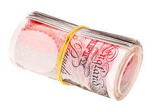 Pound sterling rolled up bank notes Royalty Free Stock Photos
