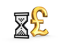 Pound sterling and sandglass icon. Royalty Free Stock Image