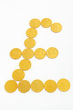 Pound sterling shape from gold coins Royalty Free Stock Image