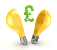 Pound sterling sign inside yellow lamp. stock illustration