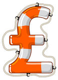 Pound sterling sign isolated lifebuoy. Vector lifebuoy in the shape of a Pound sterling sign is a symbol of economy saving by investment fund to provide economy Stock Photo