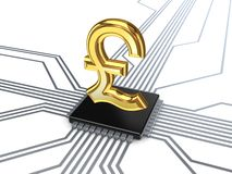 Pound sterling sign on processor. Stock Photo