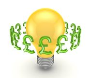 Pound sterling signs around yellow lamp. Royalty Free Stock Photography