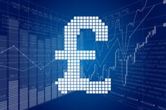 Pound sterling and Stock Charts Stock Photos