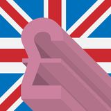 Pound sterling symbol on background of Great Britain flag stock photo