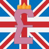 Pound sterling symbol on background of Great Britain flag royalty free stock photography