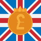 Pound sterling symbol on background of Great Britain flag Stock Image