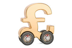 Pound sterling symbol on car wheels, 3D rendering Royalty Free Stock Photo