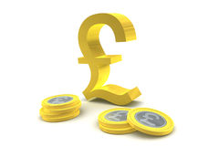 Pound Sterling Symbol and Coins Stock Photos