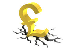 Pound Sterling Symbol on Cracked Ground Royalty Free Stock Images