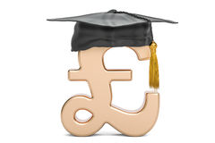Pound sterling symbol with graduation cap, 3D rendering Royalty Free Stock Image