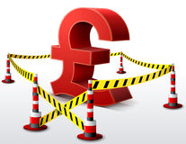 Pound sterling symbol located in restricted area Stock Image