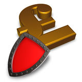 Pound sterling symbol and metal shield Stock Photo
