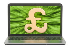 Pound sterling symbol on the screen of laptop, make money   Royalty Free Stock Image