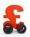 Pound sterling on wheels Stock Images