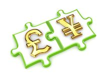 Pound sterling and yen symbols. Stock Photography