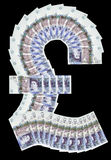 Pound symbol. UK pound symbol made up twenty pound notes royalty free stock photography