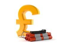 Pound symbol with bomb. Isolated on white background Royalty Free Stock Image